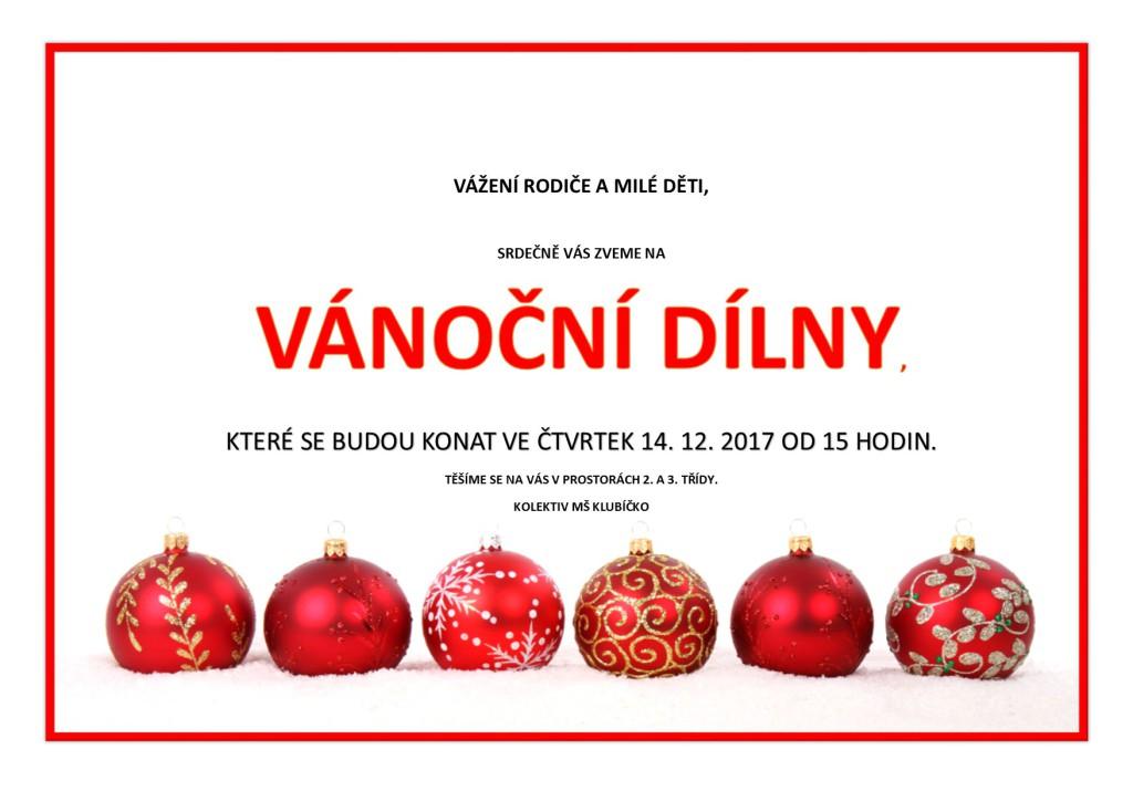 Pozvánka na vánoční dílny