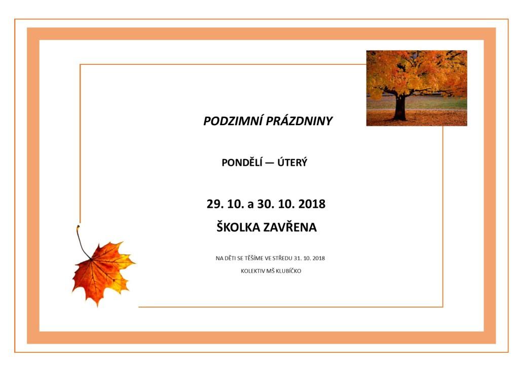 Podzimní prázdniny 2018