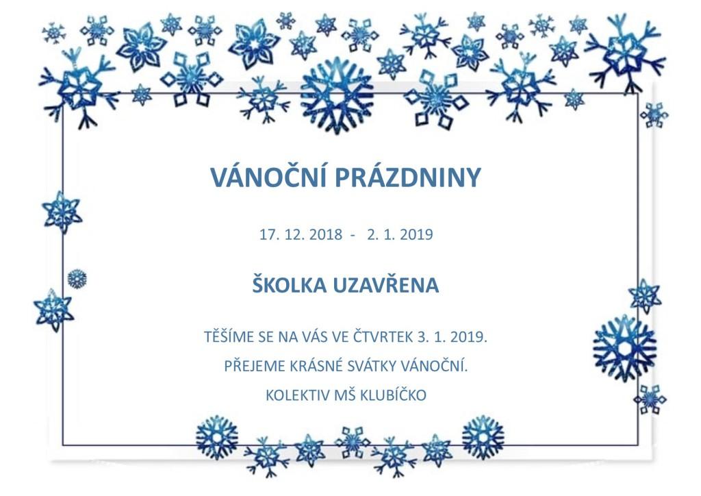 Vánoční prázdniny 2018