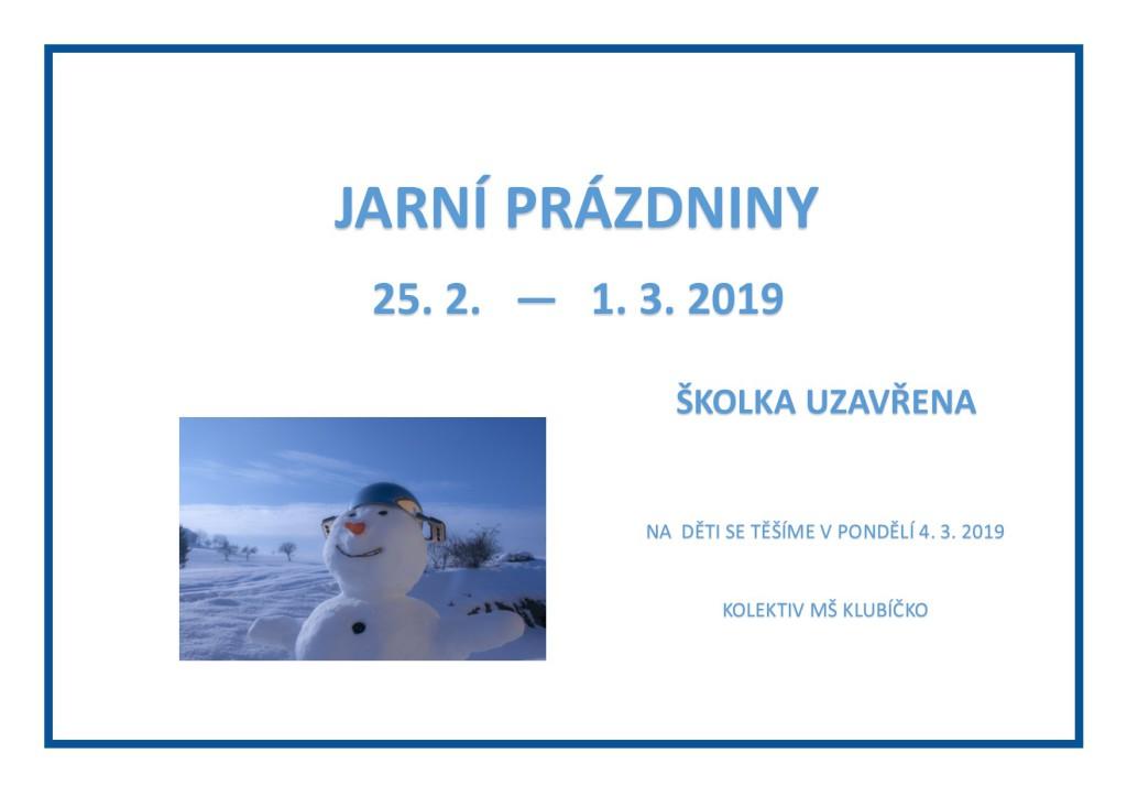 Jarní prázdniny 2019